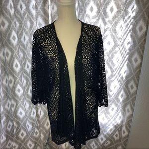 """Black """"lace"""" Lularoe kimono jacket"""
